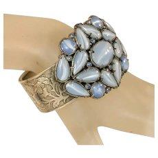 Blue Moonstone Glass & Tiny Blue Glass Rhinestones Extra Wide Art Deco Vintage Hinged Cuff Bracelet Bangle