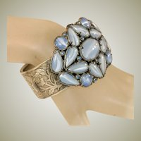 Blue Moonstone Glass & Tiny Blue Glass Rhinestones Extra Wide Art Deco Vintage Hinged Cuff Bracelet Bangle
