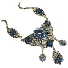 Vintage Ornate Necklace, Beautiful Blue Open Back Stones & Rhinestone Bib with Drops, Clasp Matches Bib