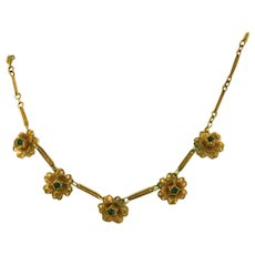 Brass Roses with Blue Stone Center in Petite Vintage Necklace