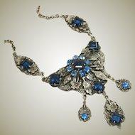 German Vintage Glass Stones Ornate Necklace Beautiful Blue Open Back Stones & Rhinestone Bib with Drops