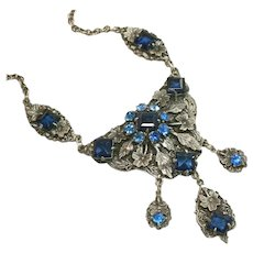German Vintage Glass Stones Ornate Necklace Beautiful Blue Open Back Stones & Rhinestone Bib with Drops