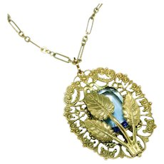 'Peek a Boo' Blue Stone & Brass Filigree Vintage Pendant Necklace