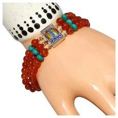 Carved Carnelian & Turquoise 3 Strand Enameled Clasp Sterling Silver Vintage Bracelet