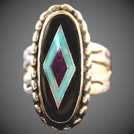 Inlaid Semi Precious Stones Sterling Silver Carolyn Pollack Vintage Ring, Size 6 1/2