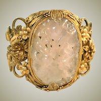 Antique Carved Pink Rose Quartz Gold Vermeil on Silver Extra Wide Chinese Wedding Bracelet