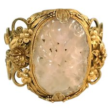 Antique Carved Pink Rose Quartz Gold Vermeil on Silver Extra Wide Chinese Wedding Bracelet