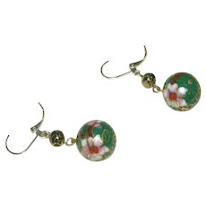Cloisonne Old Vintage Pierced Earrings, Sterling Silver Leverbacks