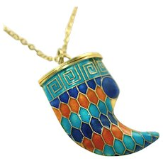 70's Chinese Import Cloisonne Enameled Tiger Claw Poison Pendant