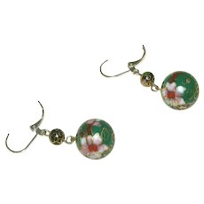 Old Vintage Cloisonne Pierced Earrings, Sterling Silver Leverbacks