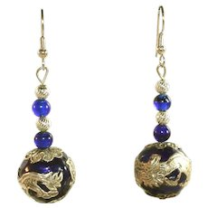 Vintage Dragons Pierced Drop Earrings, Silver Plated, Cobalt Blue Glass
