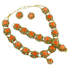 Vintage Coral & Turquoise Stones Set in Brass, Massive Necklace, Bracelet, Clip Earrings Set, Parure