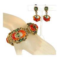 "Crescent Moon Vintage Chunky c.1950 Lucite & Rhinestone 1 ¼"" Wide Bracelet & Earrings Set"