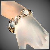 Vintage Crown Trifari Signed Bracelet Baguette Thistle Flower Rhinestones in Sprays, c.1945