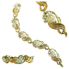Vintage Crown Trifari Signed Bracelet Baguette Thistle Flower Rhinestones in Sprays, c.1945