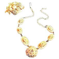 Fancy Vintage Carved Celluloid & Rhinestone Necklace, Pin Set in Light Beige