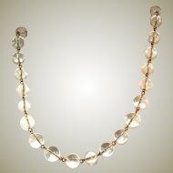 Crystal Orbs, Pools of Light Vintage Designer Signed Graduated Necklace