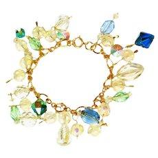 Crystal Glass Vintage Charm Bracelet, Vintage Glass Beads of All Kinds
