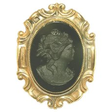 Large Over Two Inches Long Black on Black Vintage Glass Cameo Pin, Elaborate Stamped Frame