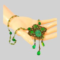 Art Deco Antique Neiger Bros. or Max Neiger Egyptian Revival Czech Lavaliere Style Necklace