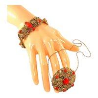 Czech Vintage Tombac Bracelet, Pin/Pendant & Chain Necklace Set, Bright Sunburst Orange Red Glass Cabochons