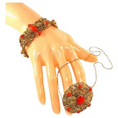 Czech Vintage Tombac Bracelet, Pin/Pendant & Chain Necklace, Bright Sunburst Orange Glass Cabochons