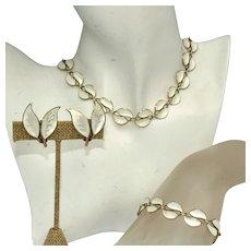 David Andersen White Pearl Enamel Parure, Necklace, Bracelet, Earrings, Parure