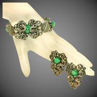 Vintage Double Dragon Bracelet & Dual Pins Set, Green Peking Glass Cabochons, Silver Plated
