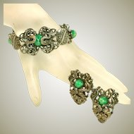 Vintage Double Dragon Bracelet & Dual Pins Set, Green Peking Glass Cabochons, Silver Plated