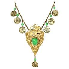 Green Peking Glass Vintage Dragon Motif Drop Necklace