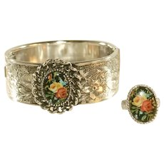 Vintage Wide Cuff Bracelet & Matching Adjustable Ring with Floral Motif, Signed EMMONS