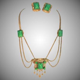 Etruscan Revival Tombac Brass & Peking Glass Vintage Czech Festoon Necklace & Clip Earrings Set