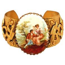 "Extra Wide 1 ¾"" Vintage Victorian Garden Cameo Scene Portrait Cuff Bracelet"