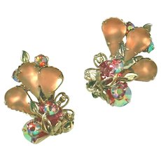 Frosted Peachy Pink Pears & Pink Aurora Borealis Rhinestones Vintage Clip Earrings