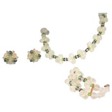 Sexy Vintage Vendome Full Parure, Set Frosted Translucent Necklace, Bracelet, Earrings – All Pieces Signed