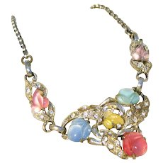 Fruit Salad Carved Glass & Rhinestone Unsigned Coro Vintage Necklace