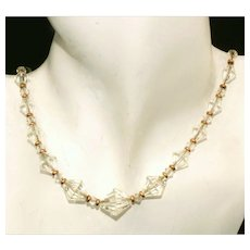 Beautiful Vintage Leaded Graduated Bi-Cone Crystal Necklace, Gold Filled on Chain