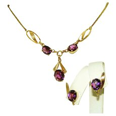 Gold Filled Amethyst Purple Stone Vintage Signed Van Dell & 12kt GF Necklace , Earrings Set