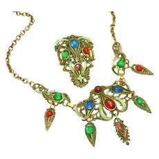 Vintage Fringed Bib Necklace & Dress Set Enameled & Rhinestones by New England Glassworks