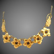 Gold Plated Retro Modern Amethyst Purple Stone Designer Signed Floral Vintage Necklace