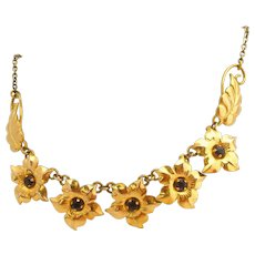 Gold Plated Retro Modern Amethyst Purple Stone Designer Signed Floral Vintage Necklace