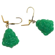 Buddha Vintage Jade Glass Figural Pierced Drop Earrings