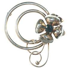 Large Harry Iskin Vintage Sterling Silver Fantasy Flower Large Pin, c.1940