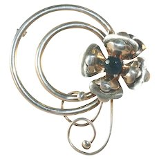 Large Harry Iskin Vintage Sterling Silver Fantasy Flower Large Pin, c.1940