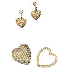 Blingy Vintage Hearts, Hearts, Hearts Pave Style Rhinestones in Pins & Earrings Set