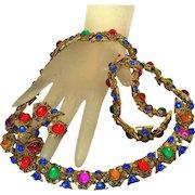 Couture Vintage 70's Moghul Jewels Necklace Bracelet Earrings Set, Full Parure!