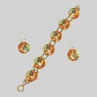 Irish Enamel Modernistic Signed Vintage Bracelet & Pierced Earring Set