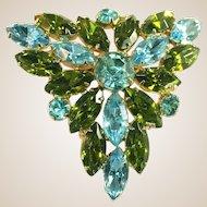 Aqua Blue & Ivy Green Large Vintage Juliana Pin