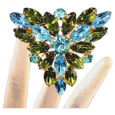 Aqua Blue & Peridot Green Large Vintage Juliana Pin