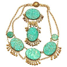 Art Deco Exciting Carved Glass Faux Turquoise Jewels of India Style Vintage Fringed Necklace & Brooch, Pin